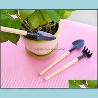 Garden Home & Garden3Pcs Set Mini Rake Set Portable Gardening Tool Wooden Handle Metal Head Shovel Harrows Spade For Flowers Plants Pot Tool