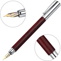 Rosewood Fountain Pen Extra Fine Nib With 6 Cartridges Piston Converter Smooth Left Right Hand Writing Instrument Pens