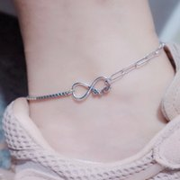 Anklets S925 Sterling Silver Unlimited Favorite 8-character Anklet Fashion Versatile Love Design Asymmetric Ab Women