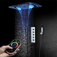 2021 천장 비 샤워 헤드 세트 인기 폭포 안개 전기 LED 목욕 시스템 온도 조절 식 4 방법 정사각형 크롬 완성 욕실 및 야외 사용