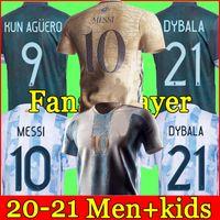 الأرجنتين Soccer Jersey 20 21 كأس الصفحة الرئيسية لكرة القدم قميص 2020 2021 ميسي dybala aguero lo celso مارتينيز تاجليفيكا الرجال + الاطفال طقم الزي الرسمي