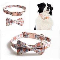 Collier pour animaux de compagnie avec empreintes en tissu d'un chiffon imprimé en métal imprimé pour petits enfants moyens gros chiens accessoires de fleurs