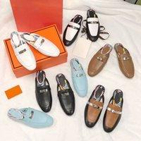 Designer Oz Mules Hausschuhe Frauen Müßiggänger Echtes Leder Sandalen Princetown Kelly Metal Kette Schuh Mode Outdoor Slipper mit Kasten