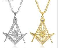 50pcs lot Zinc Alloy Freemason Masonic Freemasonry Metal Crafts Gifts Crystal Necklace Pendant + Chains Golden Silver