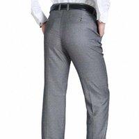 2020 2020 جديد عارضة اللباس البدلة السراويل للرجال صالح سليم الذكور الأعمال اللباس السراويل الأسود مرونة مستقيم الخصر نحيل عارضة السراويل C10B #