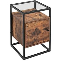 Bedroom Furniture,Glass Side Table with Cabinet, End Table, for Bedroom, Living Room, Hall, Stable Tempered Glass, Easy Assembly, Industrial Design, Rustic Brown