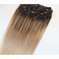 #4 #18 8A 7pcs 120gram Clip In Human Hair Extensions Ombre Dark Brown Root To Ash Blonde Balayage Highlights Hairstyle