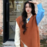 Autumn Fashion Zipper Women Vests Sweaters + Long-sleeved Color Matching Shirt Set Two Pieces For Female Women's