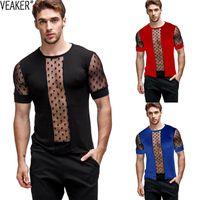 2020 Nuovi Mens Sexy Maglia trasparente T Shirt Trasparente maschile Slim Fit Polka Dot Stampato Mesh T-shirt Summer Manica Corta Vedere attraverso Tops