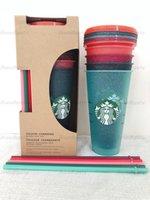 Sirène Starbucks Cup en plastique Coupe flash Coupe de couleur 24oz / 710 ml Couleur transparente Couleur Couleur Boisson en plastique Jus de boisson avec paille à lèvres Magic Coffee Cust Cust Custom 50pcs Tasse DHL 1