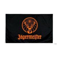 Fabrik Direkter Großhandel doppelt genäht 3x5FTs 90 * 150 cm Black Jagermeister Flagge Leben Flagge für Dekoration HWB5967