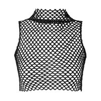 Bras Sets Womens Fashion Vest Tops Hollow Out Fishnet Tank See-through Mesh T-shirt High Neck Sleeveless Crop Top Party Bar Clubwear