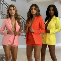 Women's Tracksuits Kalenmos Solid Color Short Sets Lapel Long-sleeved Suit Streetwear Casual Belt Sexy Mini Shorts 2021 Fall Woman Clothing