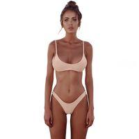 Solid Colors Thong Brazilian Bikinis Sexy Swimwear Women Plus Size Swimsuit Halter Bikini Set Simple Bathing Suit Low Waist Top Quality
