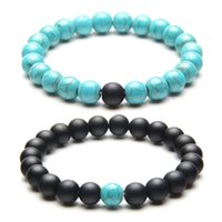 2Pcs 8mm Couples Bracelet Classic Natural Stone Blue And Black Yin Yang Beaded Dull Polish Bracelets Charm