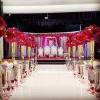 Decoración de fiesta Oro Flor Flores Vasines Holders Stands Stands Body Road Table Table CenterPiece Pillar Candlestick