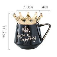Mugs Queen Of Everything Mug With Crown Lid And Spoon Ceramic Coffee Cup Gift For Girlfriend Wife L23