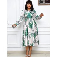 Casual Dresses Plus Size African Women Dashiki Midi Dress Bazin Riche Clothing Long Sleeve Africa Clothes S-3XL