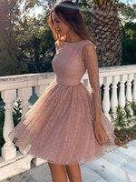 Unique Fabric Short Prom Dress Scoop Neck Three Quarter Sleeves A-line Party Dresses vestidos de coctail
