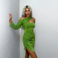 Casual Dresses DSMTRC Birthday Outfits Party Club Bodycon Skinny Clothes Autumn Green Drawstring Ruched Mini Dress For Women