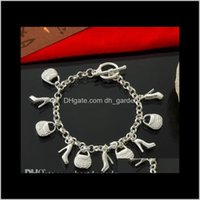 Bracelets Jewelryfashion European 925 Sterling Sier Bag Shoes Pendant Women Ladies Charm Bracelet Party Jewelry Drop Delivery 2021 O2Er9