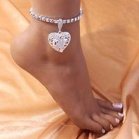 Anklets Stonefans Charm Rhinestone Heart Pendant For Women Wholesale Bracelet Female Beach Tennis Anklet Barefoot Gifts Jewelry