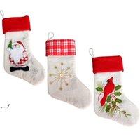 Рождество Santa Claus Socks Snowman Подарочная сумка Вышивка Рождественские Упачка Дерево Висит Украшение для Декор для вечеринок Декор Орнаменты 6 Стилей DWF11115