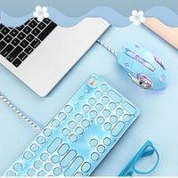 Cute Tiffany Blue Cherry Powder Gaming Mechanical Keyboard 104 Keys Switch Wired For Desktop Laptop Keyboards