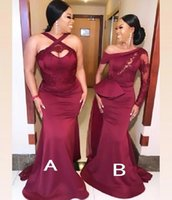 Fashion Burgundy Mermaid Bridesmaid Dresses 2021 Lace Appliques Long Wedding Party Dress African Prom Formal Gown vestidos