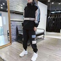 남성 레저 스포츠 슈트 2021 남자 Tracksuit 유럽 아메리칸 봄과 가을 트렌드 후드 스웨터 패션 브랜드 작업 자켓 두 조각 봉제 핸드백 패키지