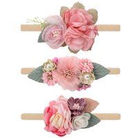Fashion Baby Girl Nylon Headbands and Bows 3pcs / Set Flower Baby Head Wraps Set de regalo de niñas para niños pequeños Niños para niños pequeños