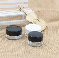 Clear Eye Cream Jar Bottle 3g 5g Empty Glass Lip Balm Container Wide Mouth Cosmetic Sample Jars with Black Cap