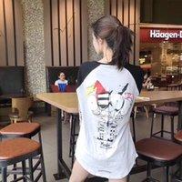 صافي أحمر نفس الأزياء العلامة التجارية طويلة الأكمام تي شيرت للرجال والنساء شخصية البحار أبيض وأسود بلون مغاير الطباعة الكرتون