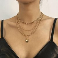 Pendant Necklaces PHYANIC Cuban Link Chain Heart Rhinestone Necklace For Women Gold Choker Clavicle Charm Luxury Jewelry Gifts Wholesale