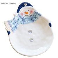 Wshyufei mignon bonhomme bonhomme de neige céramique céramique snack bol théière de rangement boconnage assaisonnement flacon assiette maison cuisine cuisine cadeau de Noël
