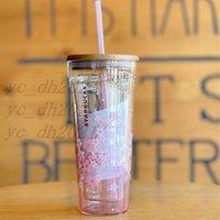 2021 النمط الياباني ستاربكس أكواب ساكورا غطاء خشبي كأس القش 591 ملليلتر الكرز زهر مزدوج طبقة زجاج كؤوس القهوة هدية