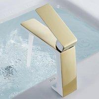 TUQIU Havzası Musluk Modern Altın Banyo Mikser Dokunun Beyaz ve Lavorory Yıkama Soğuk Lavabo Bataryaları