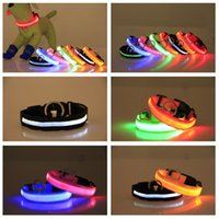 Nylon LED Dog Collars Night Safety Light Flashing Glow in the Dark Small Pet Leash Puppy Collar Shinning Safe designer dogs necklaces DHL FREE