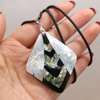 Natural Shell Mother Of Pearl Pendants Charms Wax Thread Necklace Accessories For Women Gift Size 46x57mm Length 55cm Pendant Necklaces