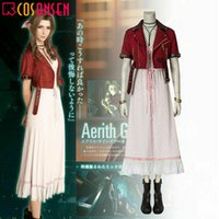 Final Fantasy VII FF7 Remake Aerith Gainsborough Cosplay Costume Full Suit Dress Adult Men Outfit for Animation Exhibition Beach Holiday Sexy Prom Night