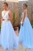 Light Blue A Line Prom Dress Lace Applique Long Evening Gown Graduation Party Formal Dresses