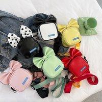 Niños Princess Handbag 2021 Girls Big Bowknot Messenger Bag Small Square Bolsos Kids Accesories Wallet Cambiar monedero F248