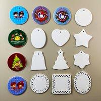 9 Arten leerer weiße Sublimation Keramik Party Dekoration Anhänger Kreative Weihnachtsschmuck Wärmeübertragung Drucken DIY Geschenke