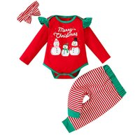 Newborn Clothing Sets Baby Suits Toddler Clothes Outfits Spring Autumn Sweater Striped Romper Leggings Pants Headbands Christmas 3Pcs B8266