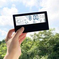 아이들을위한 데스크탑 디지털 알람 시계 침대 옆 집 학생 투명한 습도 온도 시계