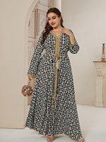 Plus Size Dresses ROKEN EVAN 2021 Abaya Autumn Long Women Lady Large Fashion Elegant Stitching Ramadan Maxi Dress CN(Origin)