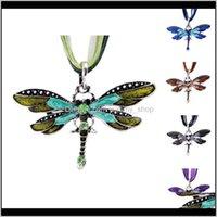 Pendentifs bijoux pendentif collier pour femmes dame cristal émail libelleur colliers dentelle cire corde chaîne bijoux goutte délais