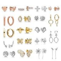 100% 925 Pure Silver 1: 1 de alta qualidade Trevo de mulher Coração-em forma de coração brincos de jóias
