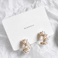 Vintage Japan Korean Hoop Earrings For Women Handmade Sweet Simulated Pearl Circle Jewelry Pendientes Gifts & Huggie