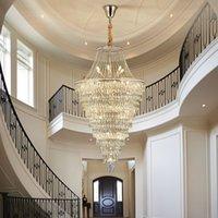 WETOGE crystal stair chandelier lights height 80cm 100cm 130cm 180cm 200cm  contemporary long led pendant lighting for villa hotel duplex church decoration